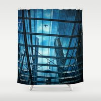 plane Shower Curtains featuring The Plane by Ewan Arnolda