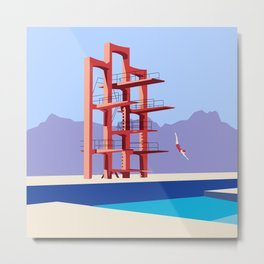 Soviet Modernism: Diving tower in Etchmiadzin, Armenia Metal Print