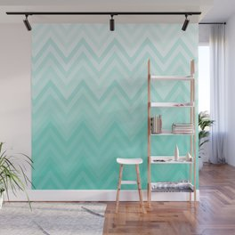Fading Teal Chevron Wall Mural