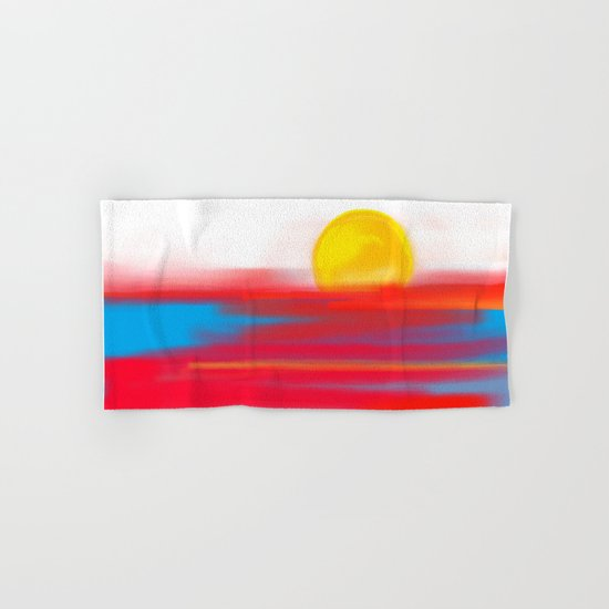 Sketchy Sun and Sea. Sunset and Sunrise Sketch Hand & Bath Towel