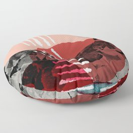 Just Passing Through Abstract Shapes in Red Palette Floor Pillow