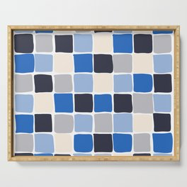 Small Square Tiles - Blue Checkered Pattern Serving Tray