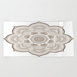 Beige & White Mandala Beach Towel