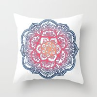 bedding Throw Pillows featuring Radiant Medallion Doodle by micklyn
