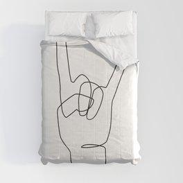 Rock Hand - Line Art Comforters
