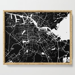 Amsterdam Black on White Street Map Serving Tray