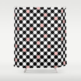 Geometrical abstract pink coral black white polka dots Shower Curtain