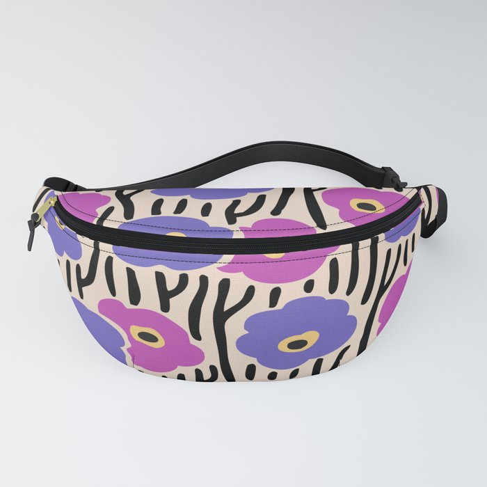 Mid Century Modern Wild Flowers Pattern Pink and Purple Fanny Pack