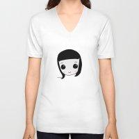 valentina V-neck T-shirts featuring Little vampire Valentina doll by zombydolls