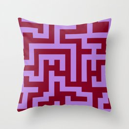 Lavender Violet and Burgundy Red Labyrinth Throw Pillow