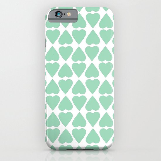 Diamond Hearts Repeat Mint iPhone & iPod Case
