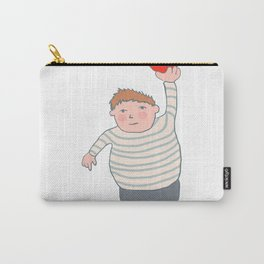 fat boy holding a heart. Carry-All Pouch