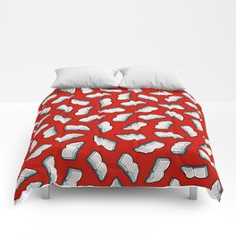 Bookish Reading Pattern in Red Comforters