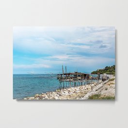Typical trabucco on the Adriatic coast in spring Metal Print
