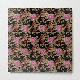 Japanese Peony Floral - Black Metal Print