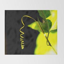 Spring! Green Leaf On A Black Background #decor #society6 Throw Blanket