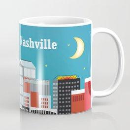 Nashville, Tennessee - Skyline Illustration by Loose Petals Coffee Mug