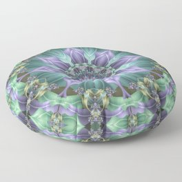 Ribbon Mandala in Blue and Purple Floor Pillow