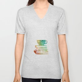 Cup of Tea with Books Unisex V-Neck