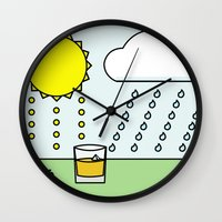 whisky Wall Clocks featuring Whisky Sunlight by N140