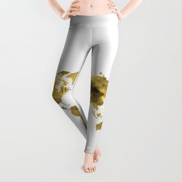 Gold World Map 2 Leggings