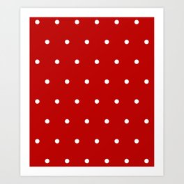 Red and White Polka Dots Pattern Art Print