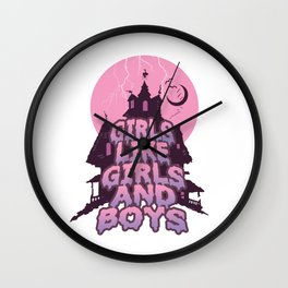 girls like girls and boys Wall Clock