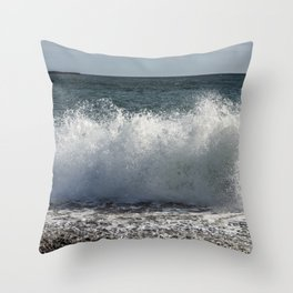 Wave Splashing at pebble beach Throw Pillow