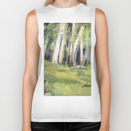 Woodland Landscape Watercolor Vermont Painting Birch Trees Spring Fields Biker Tank