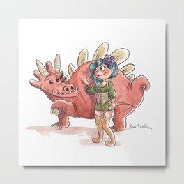 Elfe et son dragon Metal Print