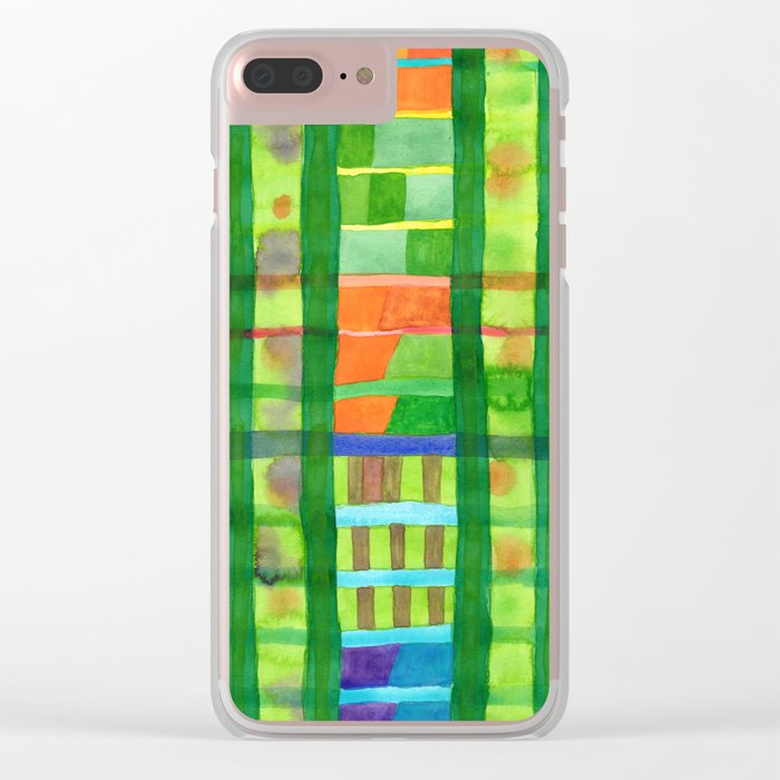 Colored Fields With Bamboo Clear iPhone Case