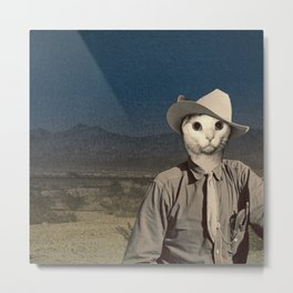 Rhinestone Cowboy cat Metal Print