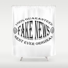 Fake News badge (black on white) Shower Curtain