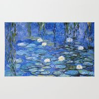 monet Area & Throw Rugs featuring water lilies a la Monet by Jo.PinX