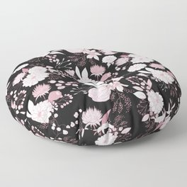 Blush pink white black rustic abstract floral illustration Floor Pillow
