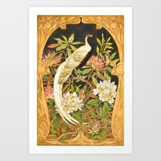 Art Nouveau Silver Pheasant with Rhododendron Art Print
