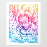goku Art Prints featuring Multicolor strength by Creadoorm