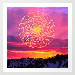 Pink Sunrise Golden Mandala Art Print