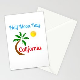 Half Moon Bay California Palm Tree and Sun Stationery Cards