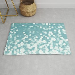 Mermaid Art, Cute Teal and White, Fun Bathroom Art Rug
