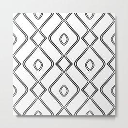 Modern Boho Ogee in Black and White Metal Print