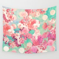 preppy Wall Tapestries featuring Romantic Pink Retro Floral Pattern Teal Polka Dots  by Girly Trend