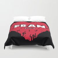 crossfit Duvet Covers featuring Love Fran by Daniel Thompson