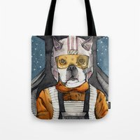 dexter Tote Bags featuring Dexter by The-MoonSquid