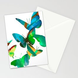 Green Butterflies Stationery Cards
