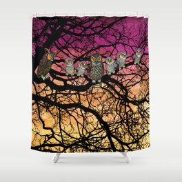 great horned owls at sunset Shower Curtain