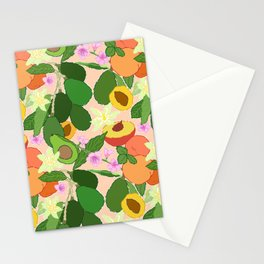 Avocado + Peach Stone Fruit Floral in Nectarine Stationery Cards