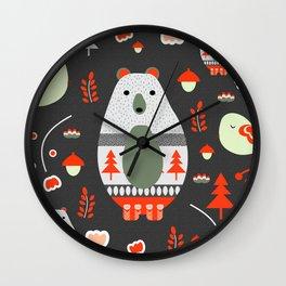 Christmas bears and birds Wall Clock