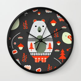 Christmas bears and birds Wall Clock