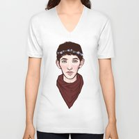 merlin V-neck T-shirts featuring Merlin Flowercrown by Emma Ehrling